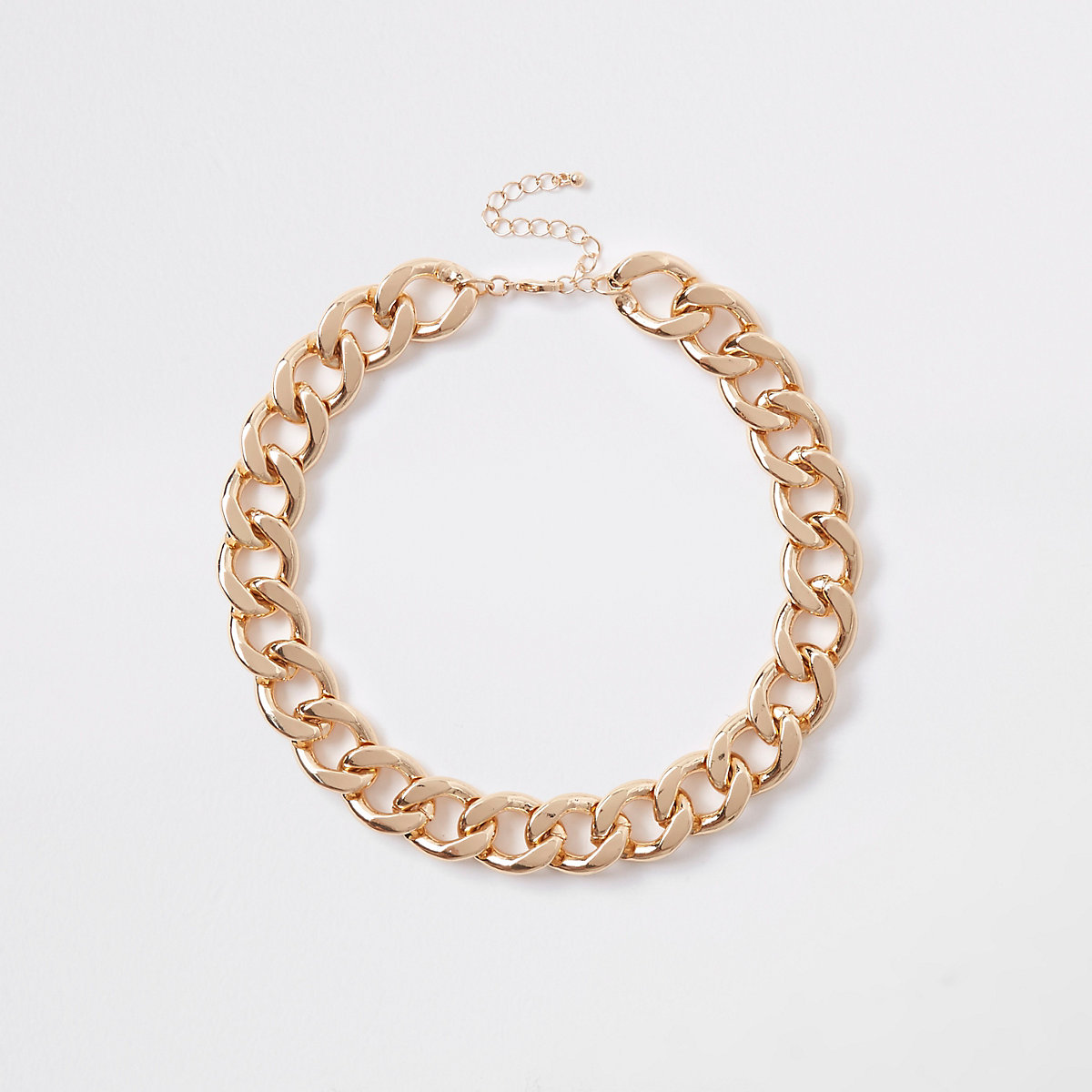 Gold tone chunky chain necklace