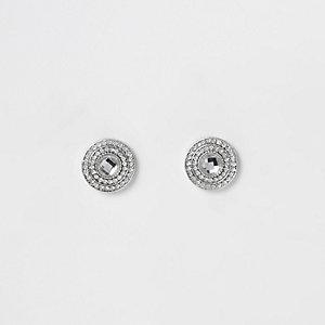 Witte oorknopjes met cirkel bezet met diamantjes
