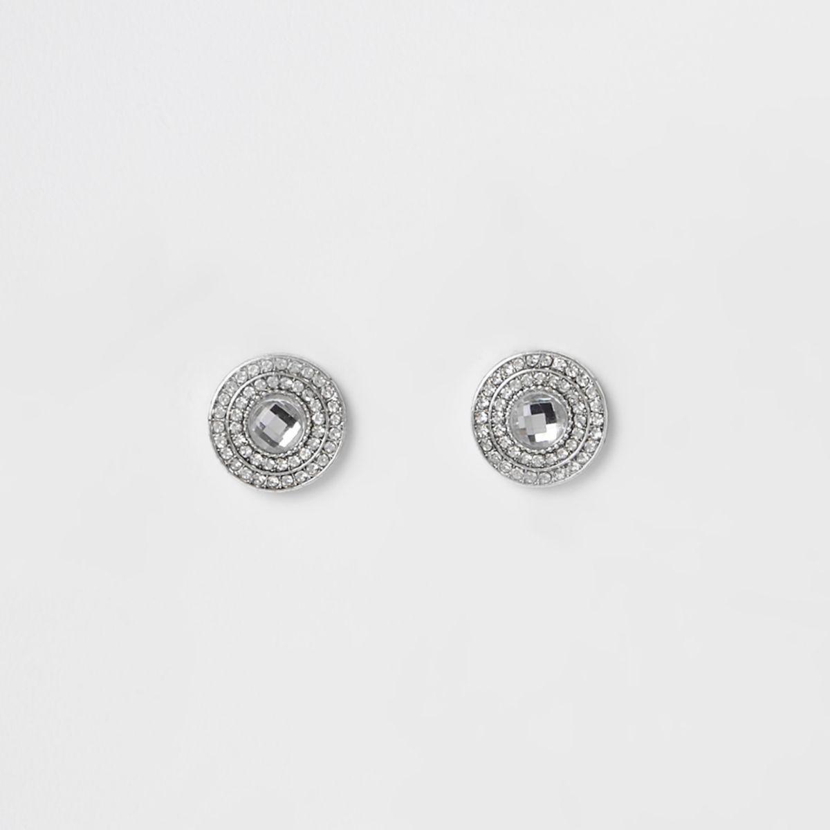 White diamante pave circle stud earrings