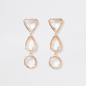 Gold tone mixed jewel drop stud earrings