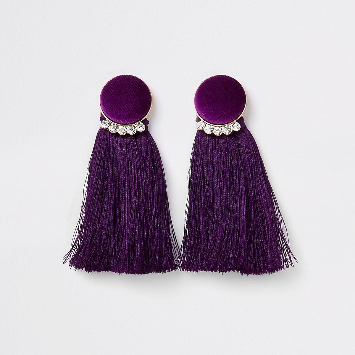 Gold tone purple velvet circle tassel earring