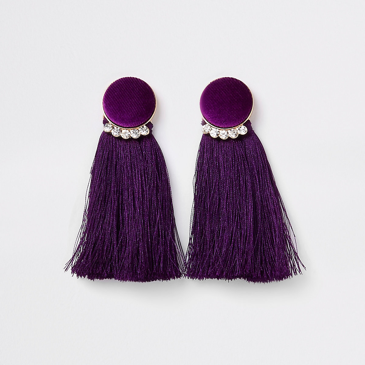 Gold tone purple velvet circle tassel earring
