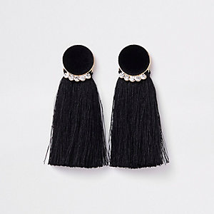 Gold tone black velvet circle tassel earrings