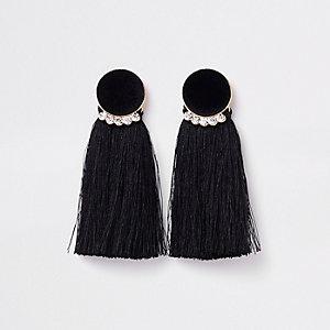 Boucles d'oreilles dorées à cercles en velours noirs et pampilles