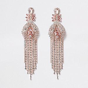 Rose gold tone jewel ball chain drop earrings