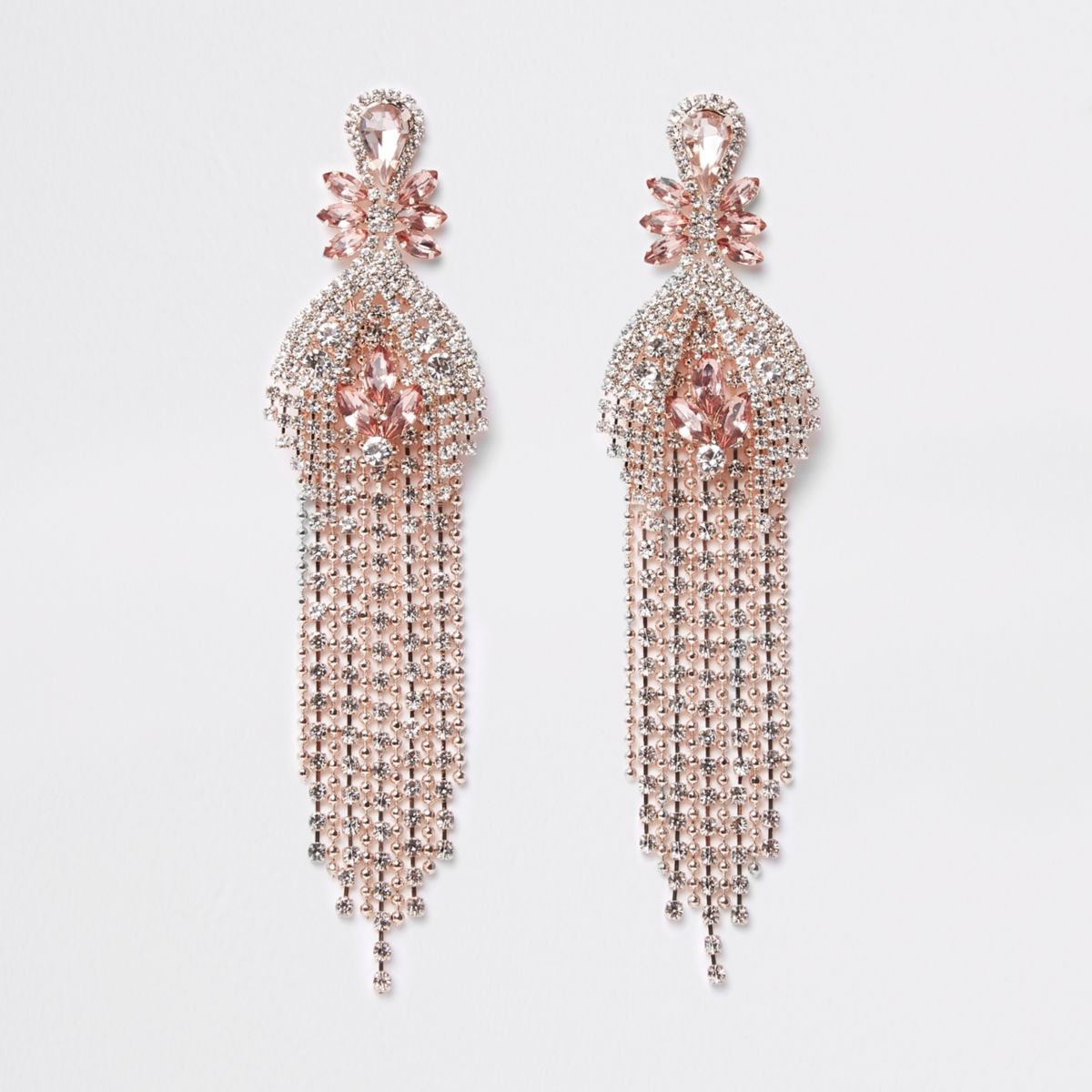 Rose gold tone jewel ball chain drop earrings