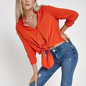 Oranje cropped overhemd met lange mouwen