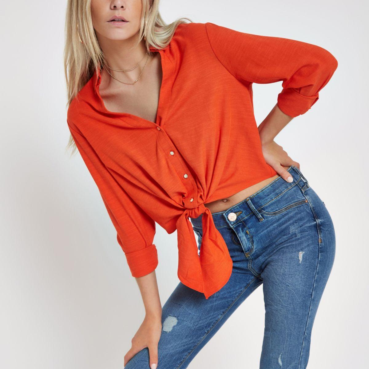 Orange long sleeve cropped shirt