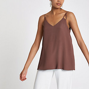 Brown split strap cami top