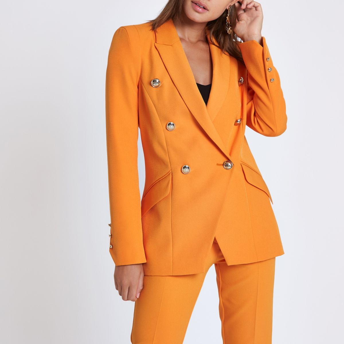 Orange double breasted tux jacket