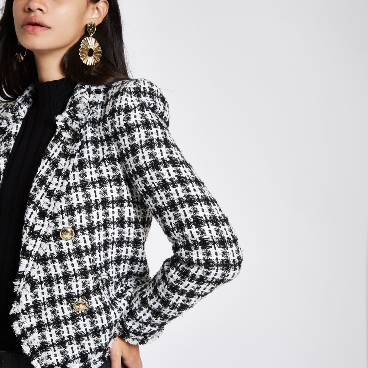 White check boucle double-breasted jacket