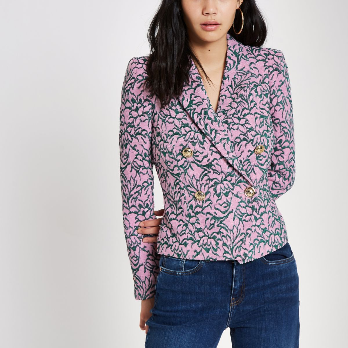 Pink jacquard double-breasted fitted jacket