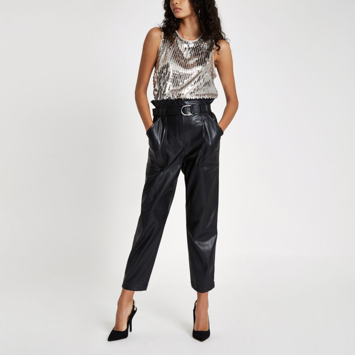 Silver sequin embellished top