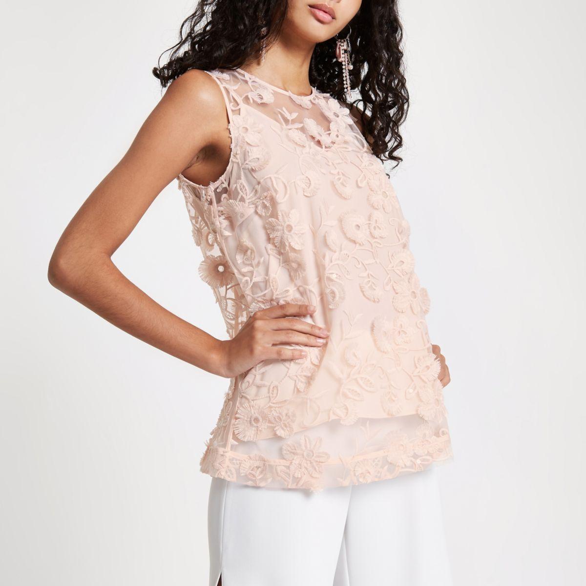 floral Pink floral Pink top Pink cami embroidered cami embroidered embroidered floral cami top qYgS8