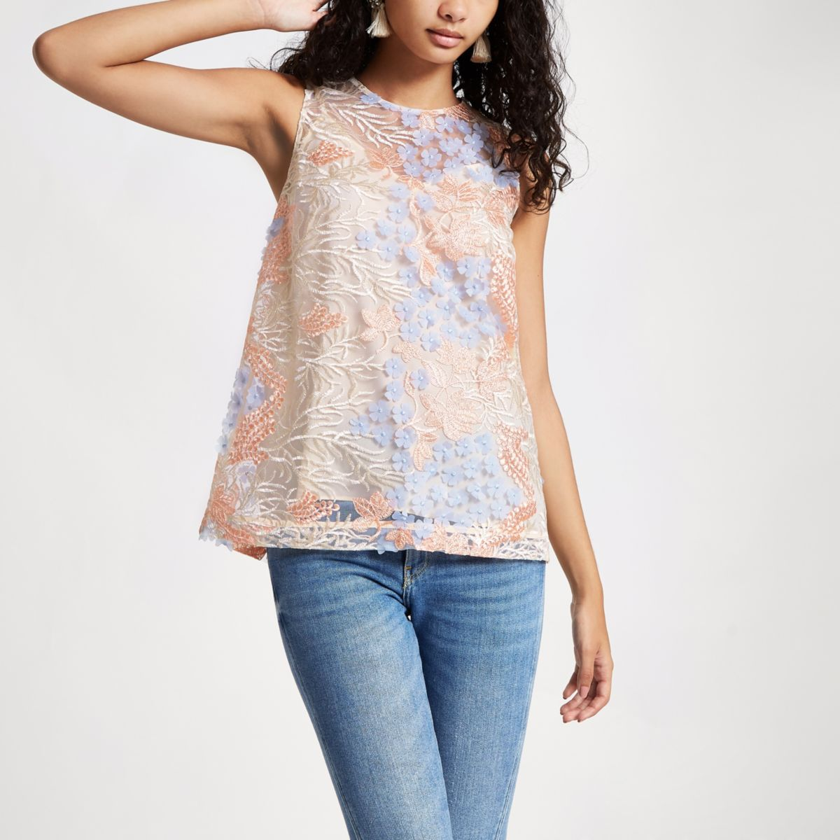 Blue flower embroidered cami top