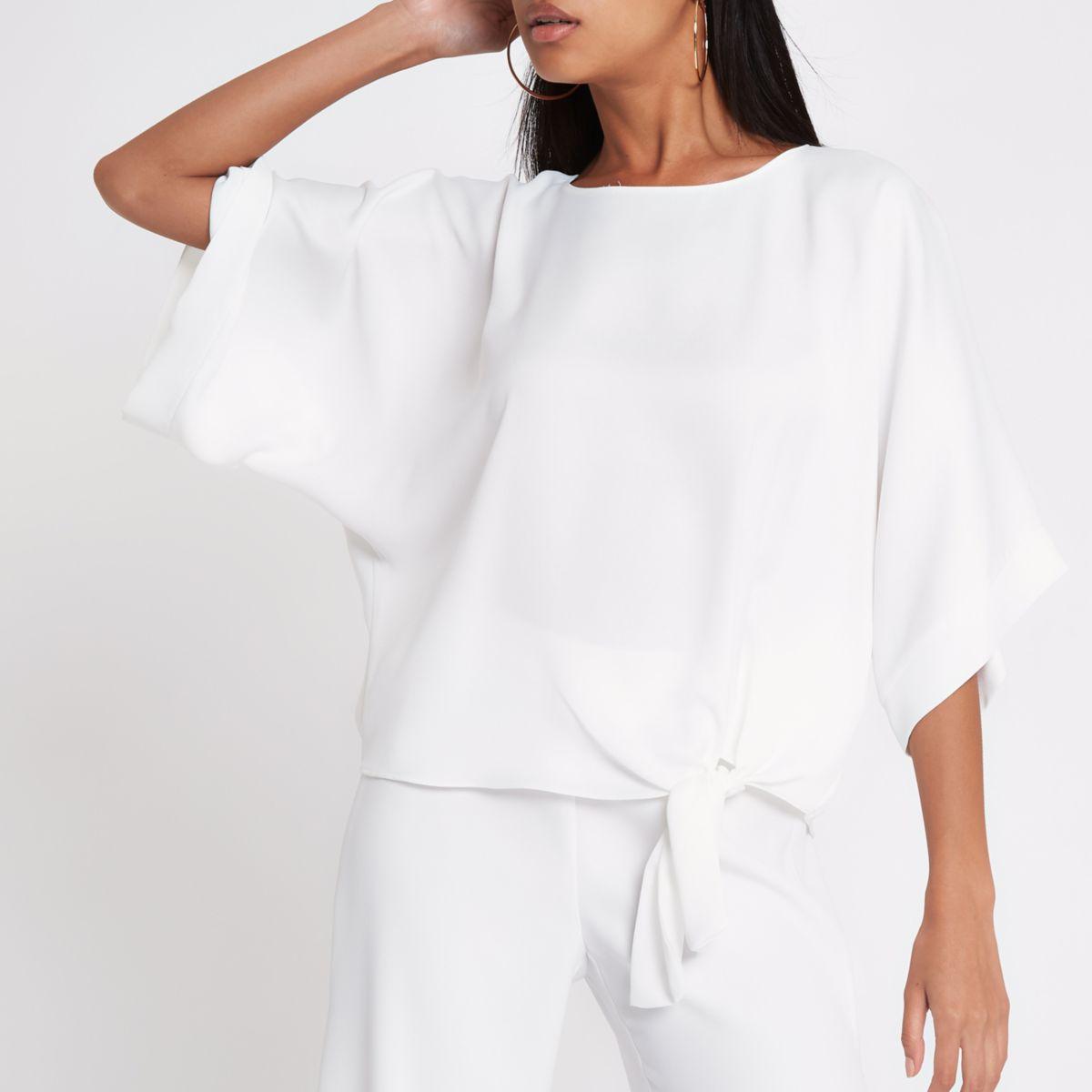 Cream tie front kimono sleeve top