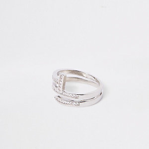 Silver tone diamante layer wrap ring