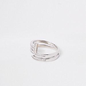 Silver tone rhinestone layer wrap ring