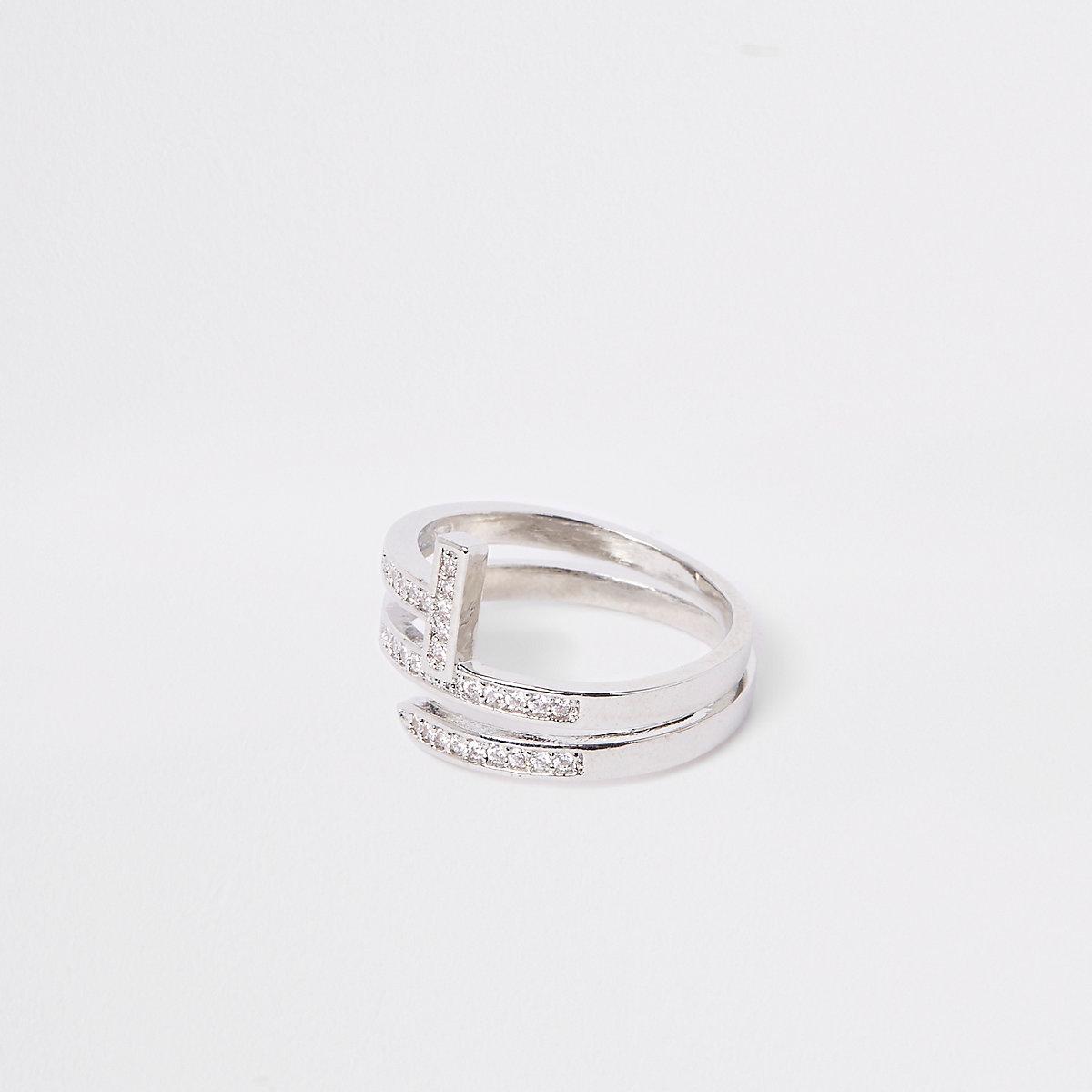 Silver tone diamante layer wrap ring