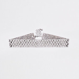 Silver tone diamante embellished choker