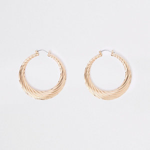 Gold tone chunky twist hoop earrings