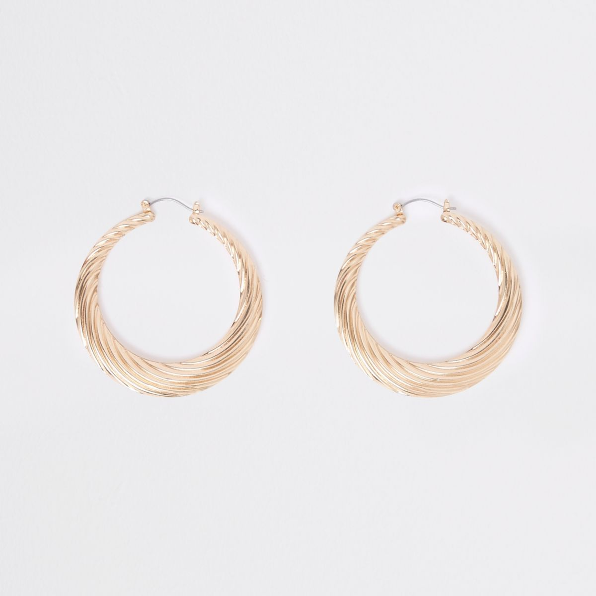 Gold tone chunky twist hoop earrings