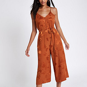 Rust button front culotte jumpsuit