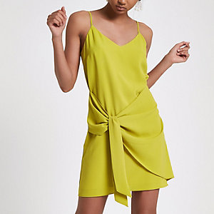 Bright green knot front slip dress