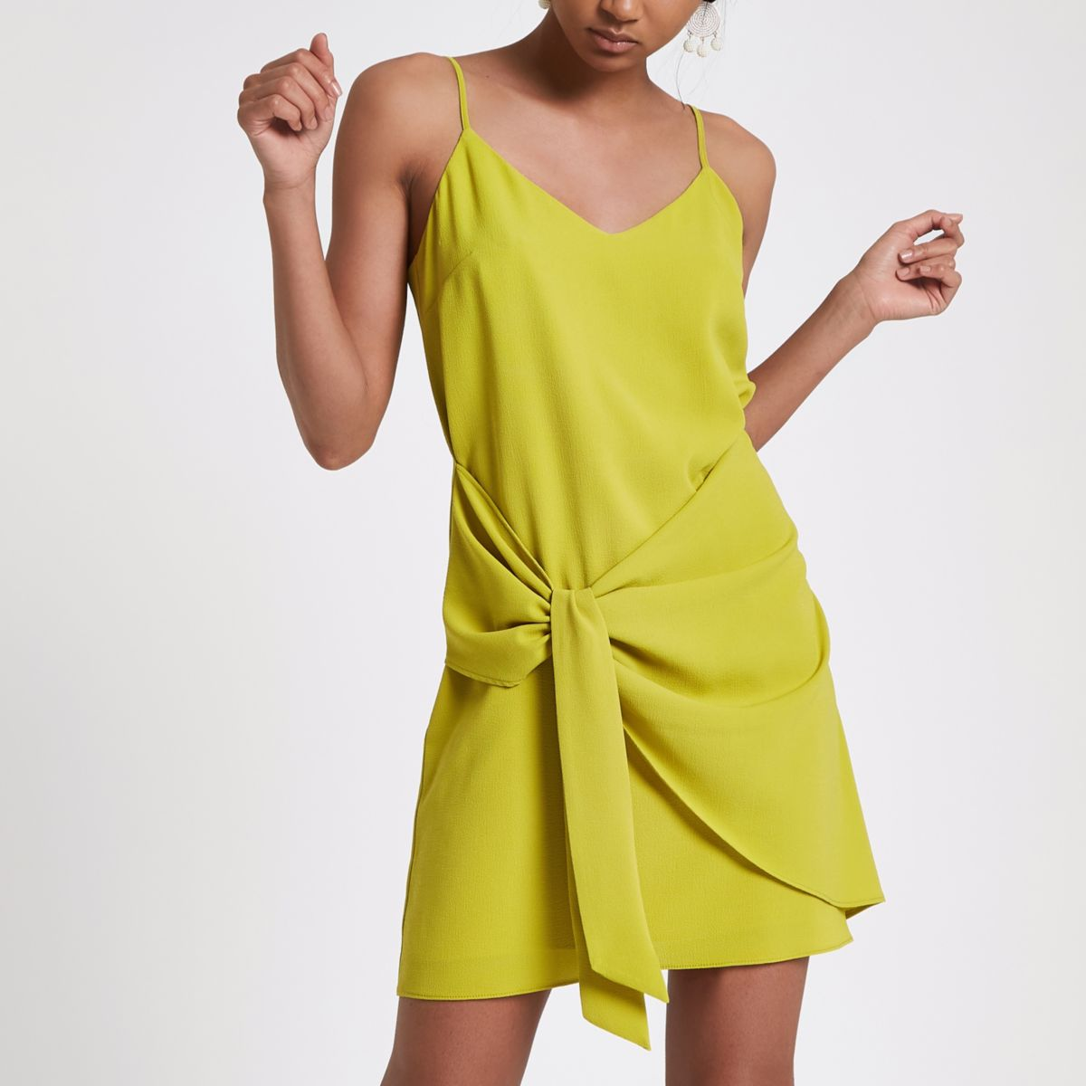 Bright green knot front slip dress