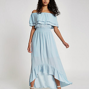 Blue bardot frill hem maxi dress