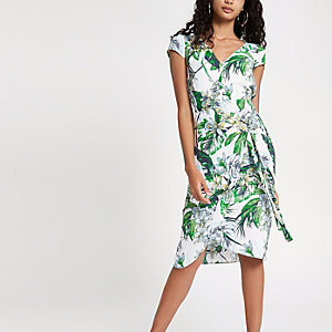 White floral wrap tie side mini dress