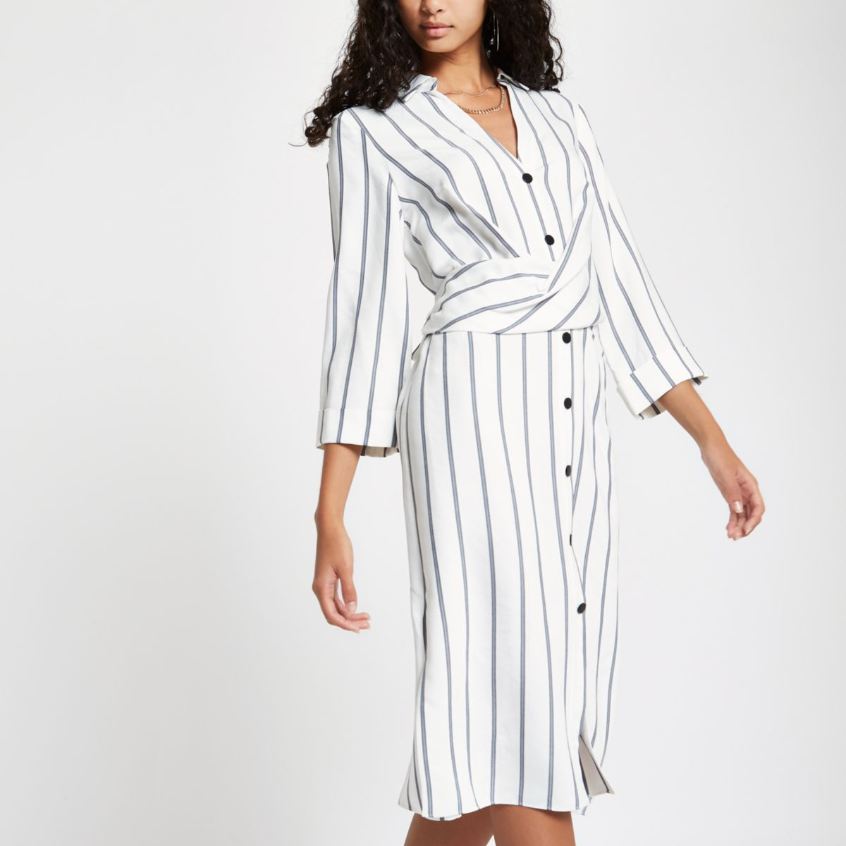 White stripe twist front midi shirt dress