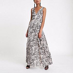 Grijze paisley diepuitgesneden maxi-jurk met strik op de rug