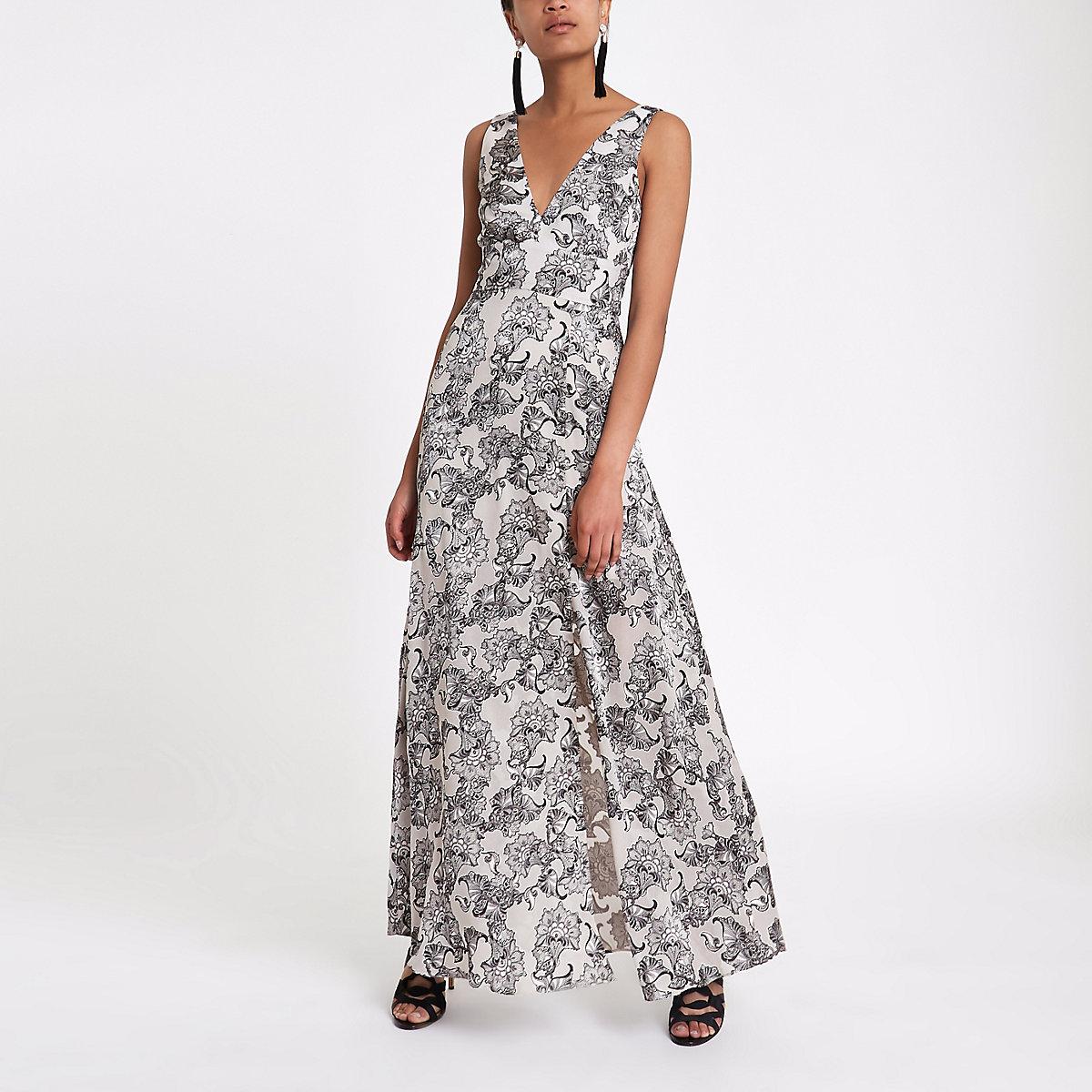 Grey paisley tie back plunge maxi dress