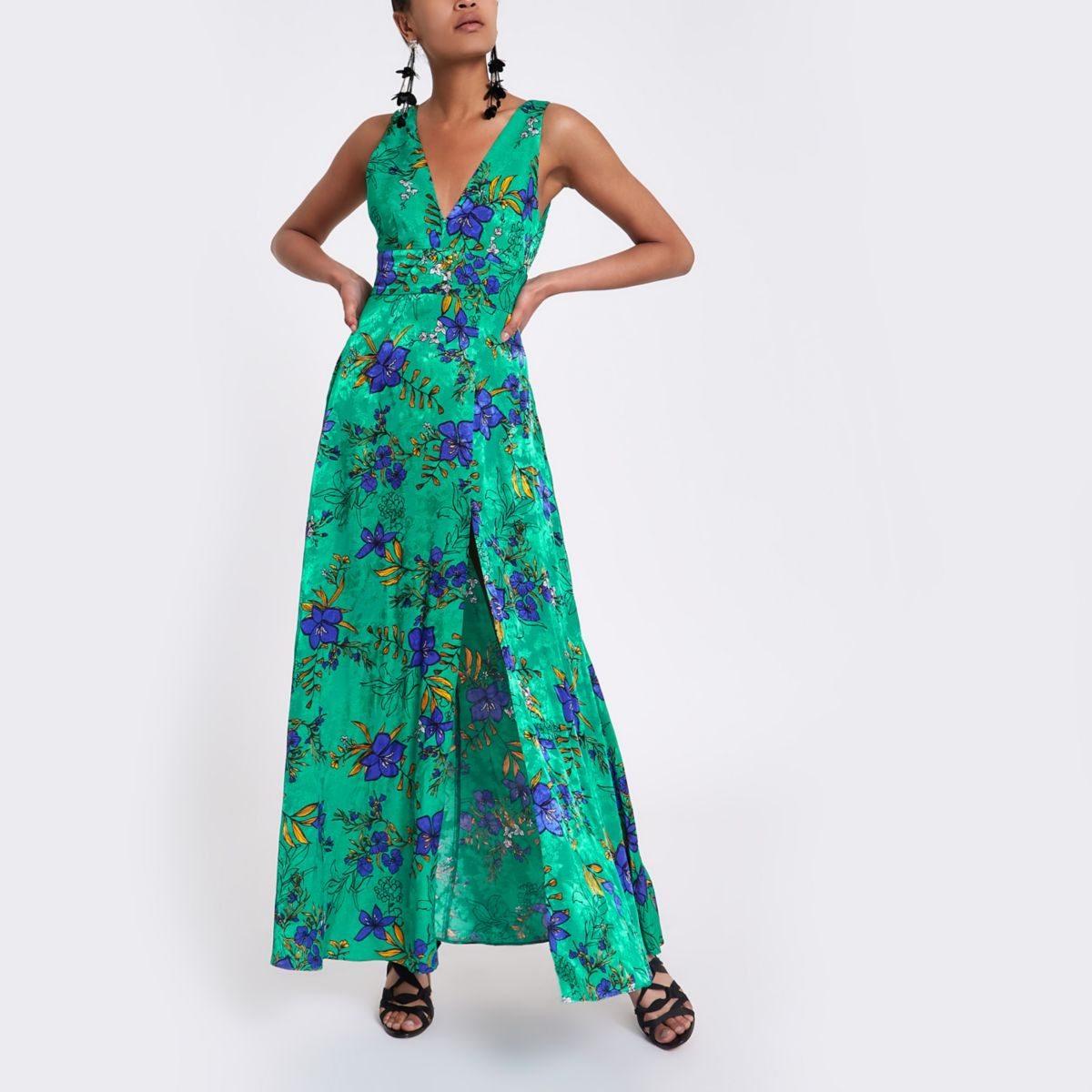 Green floral tie back plunge maxi dress