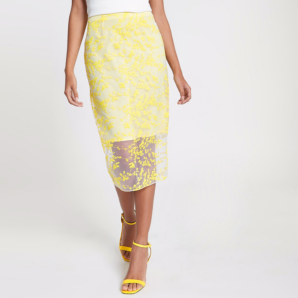 Yellow floral embroidered pencil skirt