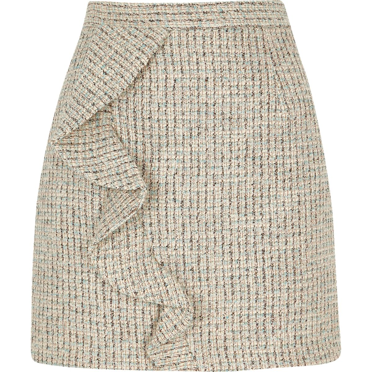 mini check boucle frill skirt Green dt6xzqOwz