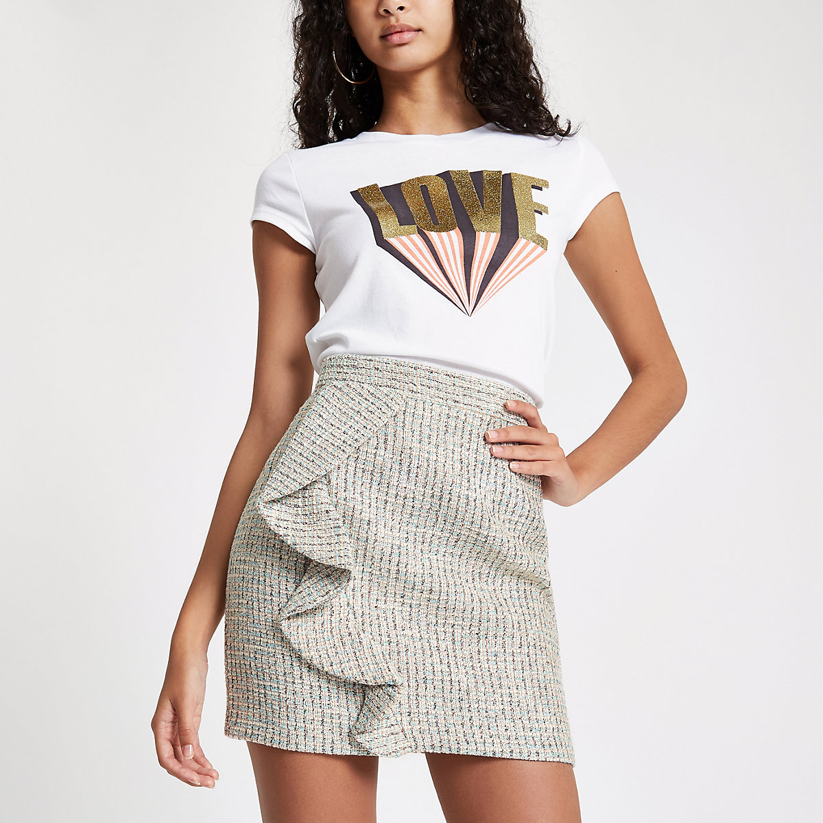 Green check boucle frill mini skirt