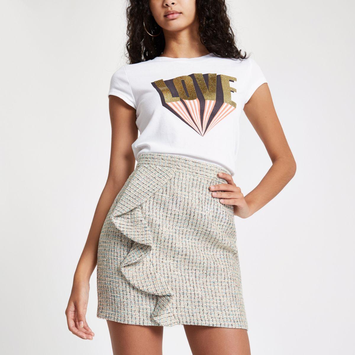 Green check boucle frill mini skirt