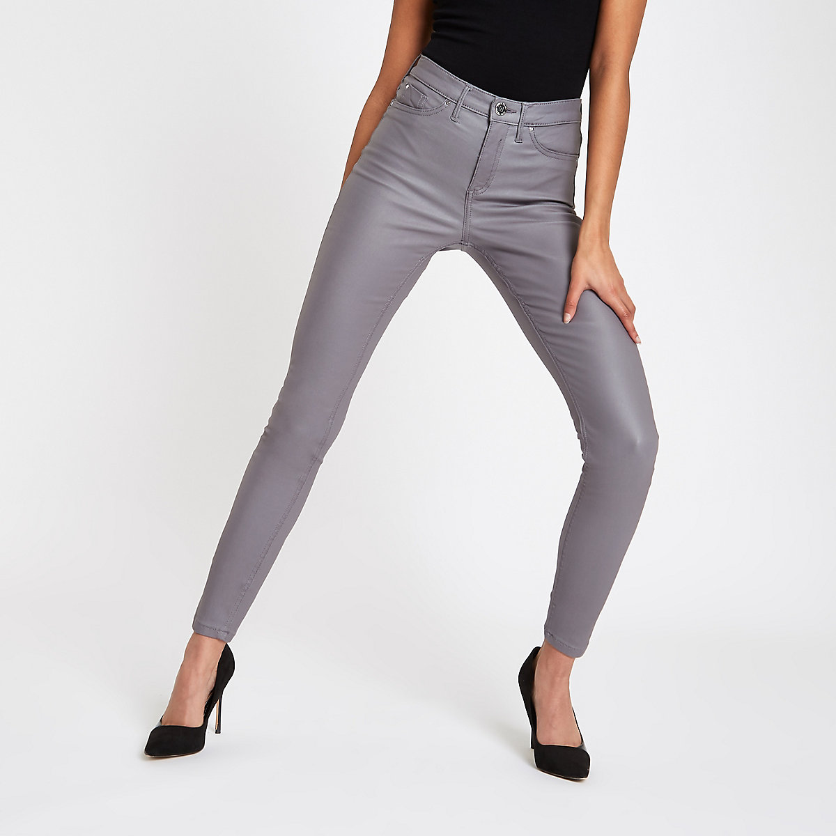 Grey coated mid rise Molly jeggings