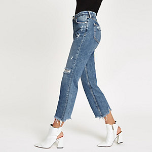 Denim ripped cropped flared jeans