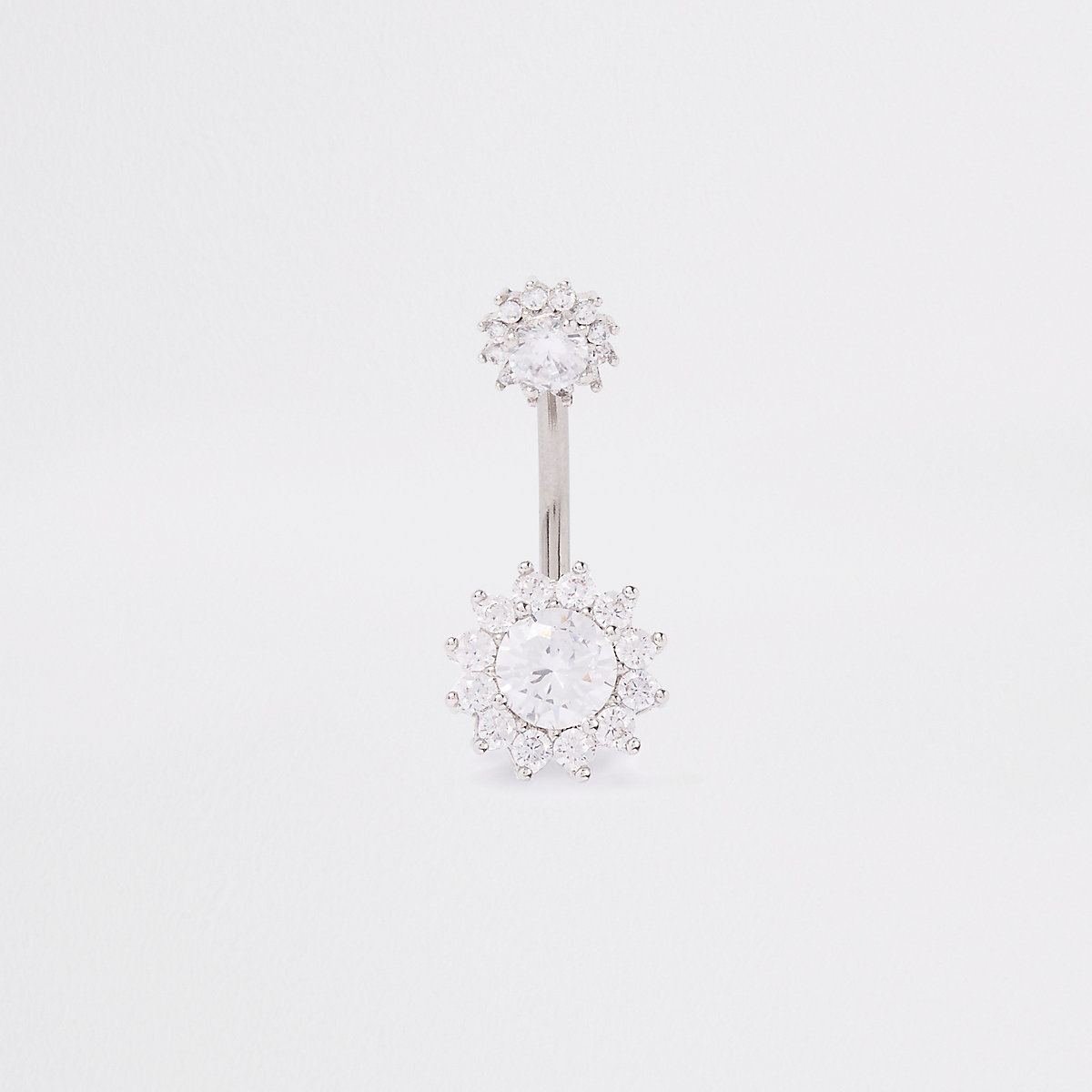 White silver cubic zirconia belly bar