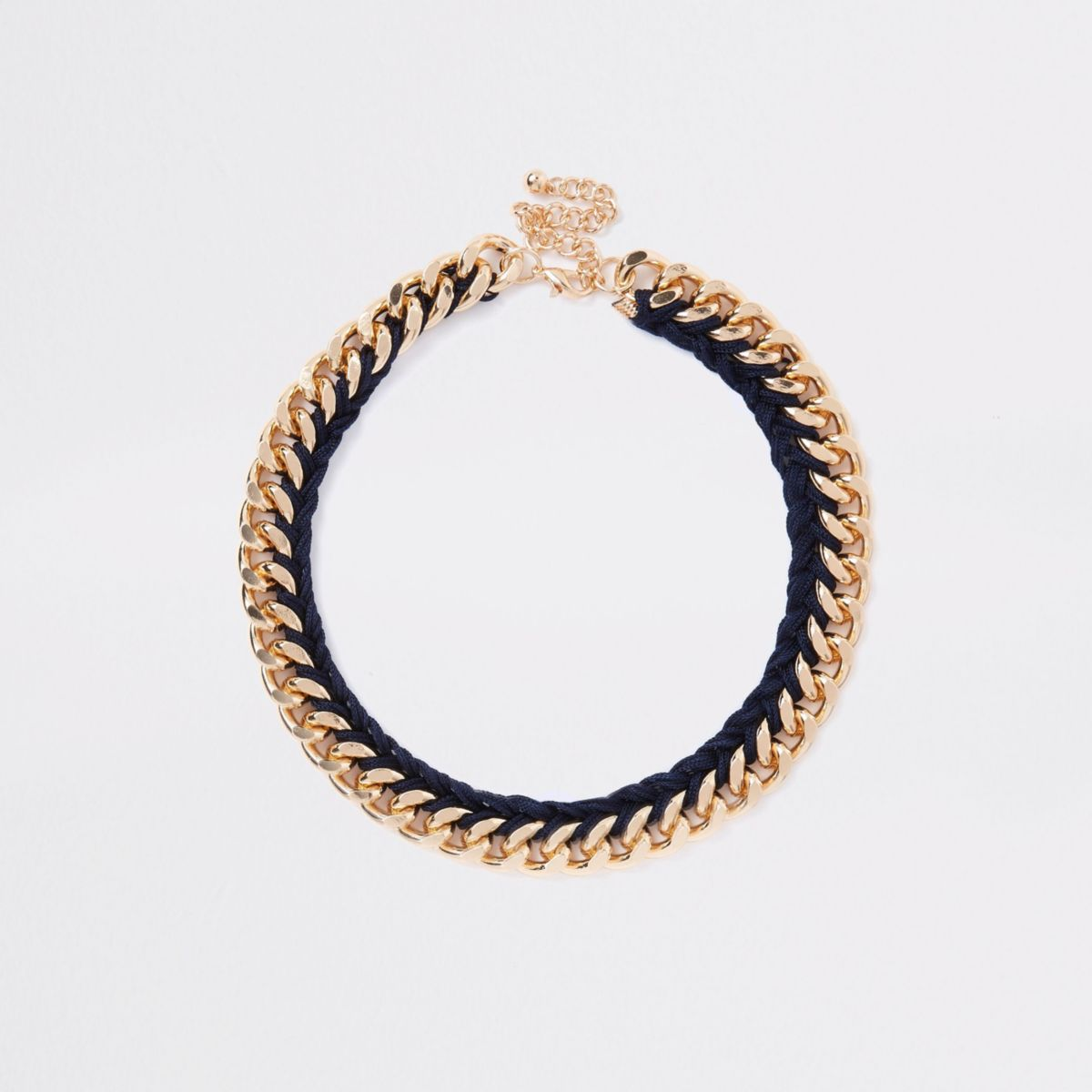 Gold tone multilinked wrapped necklace