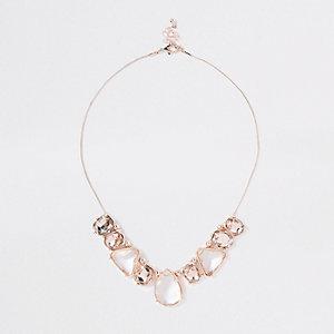 Rose gold tone jewel pendant necklace