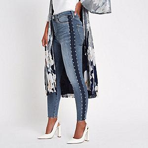 Petite – Harper – Blaue Skinny Jeans mit Nietenverzierung