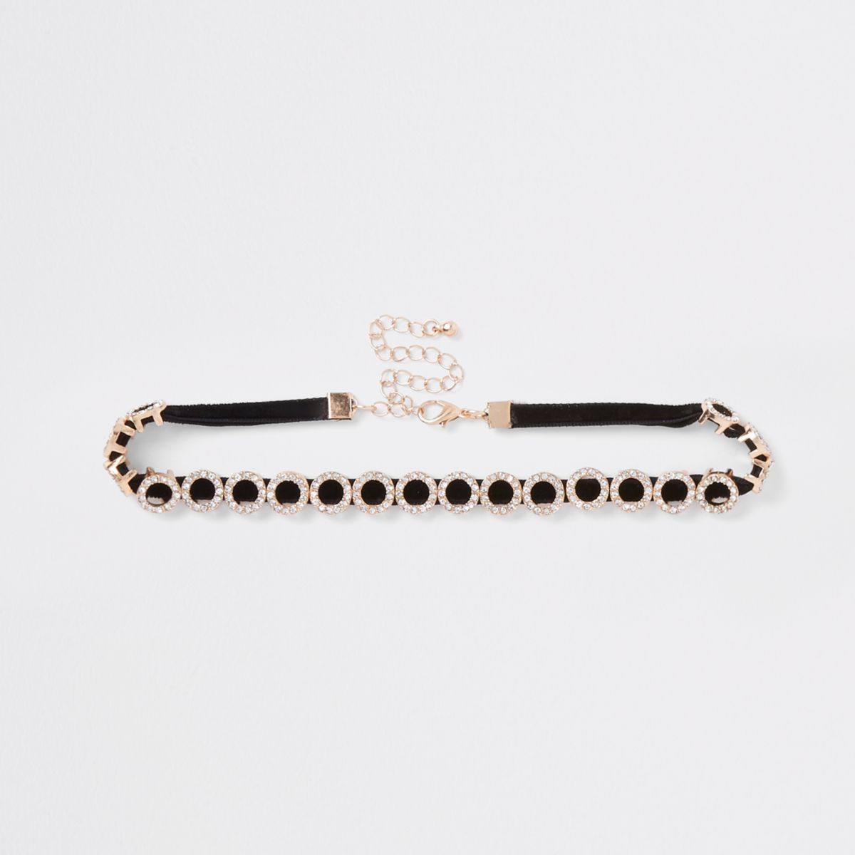 Black rhinestone embellished circle choker