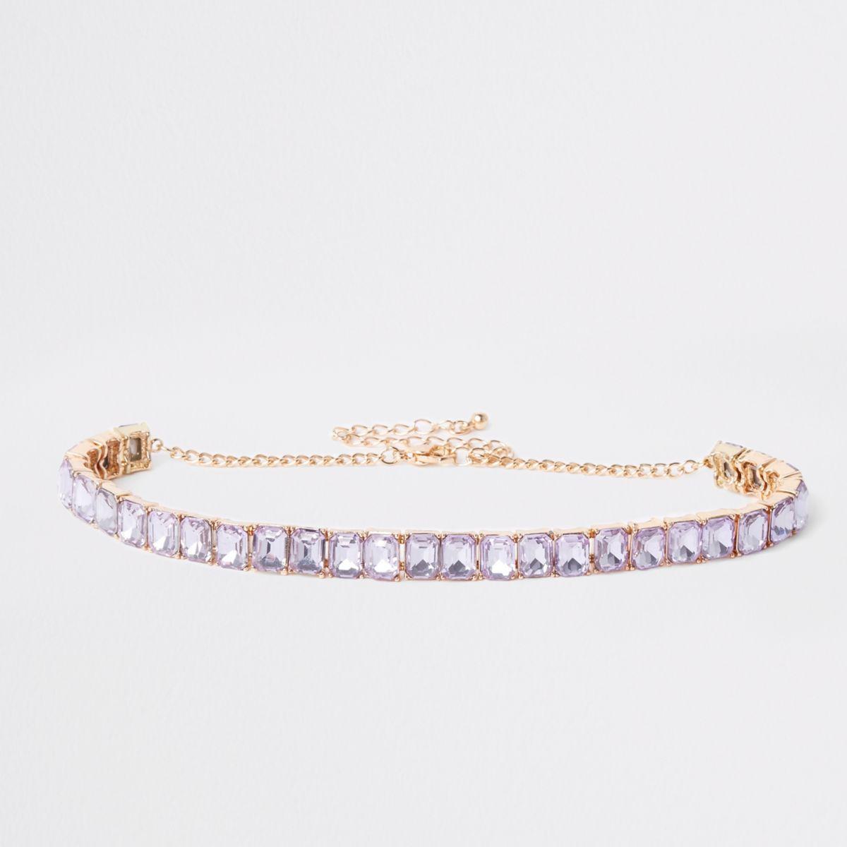 Gold tone lilac square jewel choker