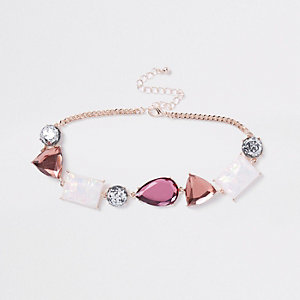 Pink jewel embellished choker