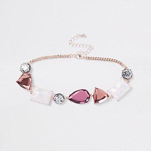 Pink jewel embellished choker
