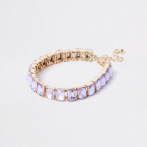 Gold tone blue square jewel bracelet